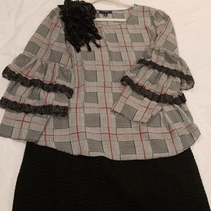 Alfani Tops - Alfani XL Black White Red Plaid Dressy Blouse